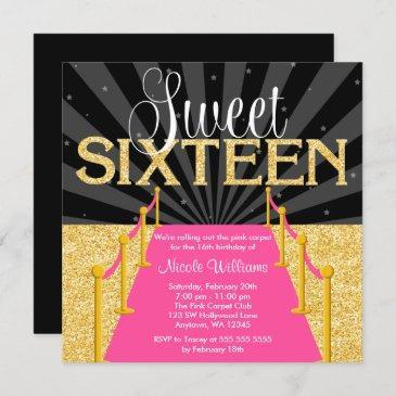 pink carpet gold glam hollywood sweet 16 birthday invitation