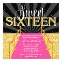 pink carpet gold glam hollywood sweet 16 birthday invitations