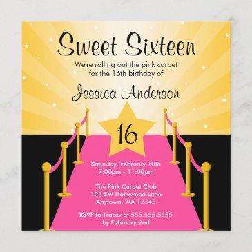 pink carpet hollywood sweet 16 birthday party invitation