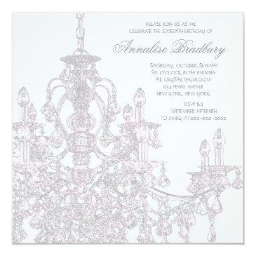 Small Pink Chandelier Sweet 16 Birthday Party Invitations Back View