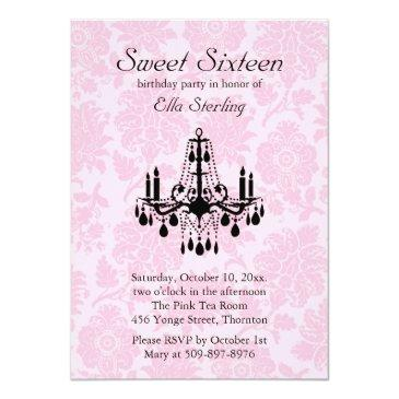 Small Pink Damask Sweet Sixteen Birthday Front View