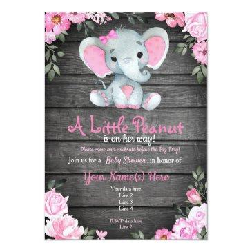 Small Pink Elephant Baby Shower Invitation, Rustic Invitation Front View