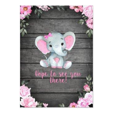 Small Pink Elephant Baby Shower Invitation, Rustic Invitation Back View
