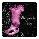 pink feather mask masquerade party invitation