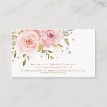 pink floral baby shower book for baby bring a book enclosure invitations