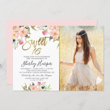 pink floral gold script sweet 16 birthday photo invitation