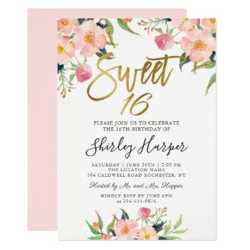 pink floral gold script sweet sixteen 16 birthday
