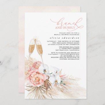 pink floral pampas grass brunch and bubbly invitation