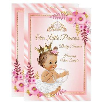 pink floral white princess baby shower brunette