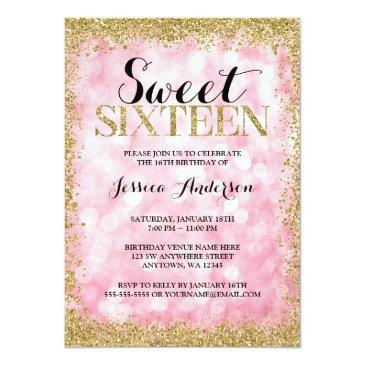 pink gold faux glitter lights sweet 16 birthday