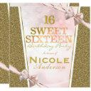 pink gold glitter glam sweet 16 bow birthday party invitations