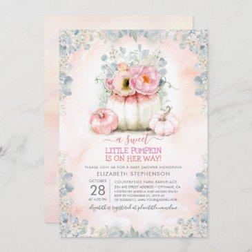 pink gold little pumpkin cute elegant baby shower invitation