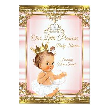 Small Pink Gold White Pearl Princess Baby Shower Light Invitation Front View