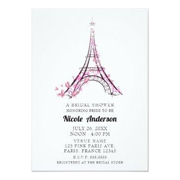 Small Pink Hearts Butterflies Paris Eiffel Tower Bridal Invitation Front View