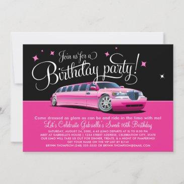 pink limousine night out birthday party invitation