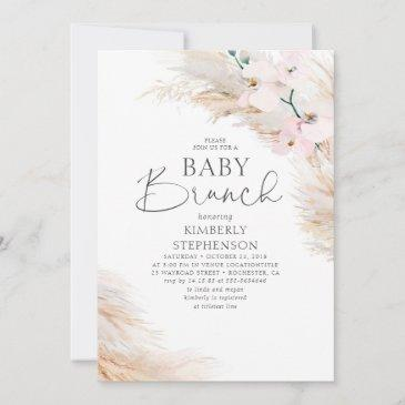 pink orchids pampas grass brunch baby shower invitation