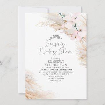 pink orchids pampas grass surprise baby shower invitation
