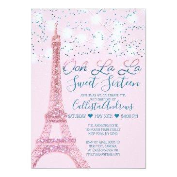 Small Pink Paris Eiffel Tower Glitter Lights Sweet 16 Invitation Front View