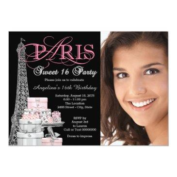 Small Pink Paris Sweet 16 Birthday Party Invitations Front View