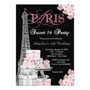Small Pink Paris Sweet 16 Party Invitations Front View