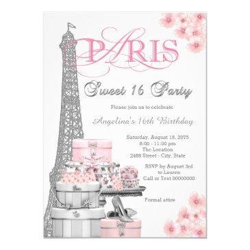 pink paris sweet 16 party invitation