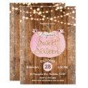 pink pumpkin fall rustic wood lights sweet 16 invitation