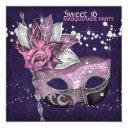 pink purple sweet 16 masquerade party invitation