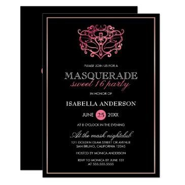 pink, rose gold & black masquerade sweet 16 party invitation