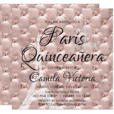 pink rose gold paris quinceañera celebration invitation