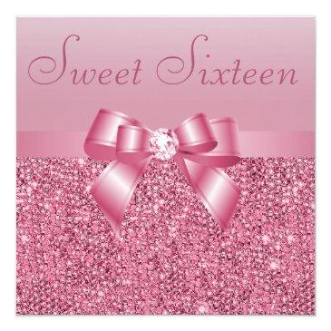 Small Pink Sequins, Bow & Diamond Sweet 16 Invitations Front View