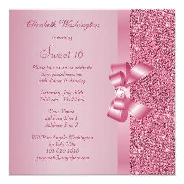 Small Pink Sequins, Bow & Diamond Sweet 16 Invitations Back View