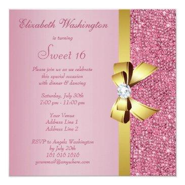 Small Pink Sequins, Gold Bow & Diamond Sweet 16 Invitations Back View