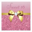 pink sequins, gold bow & diamond sweet 16 invitation