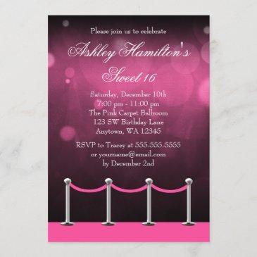 pink silver carpet hollywood sweet 16 birthday invitation