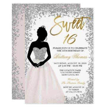 pink silver glitter sweet sixteen 16 birthday invitation