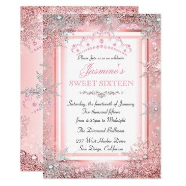 pink silver winter wonderland sweet 16 party invitations