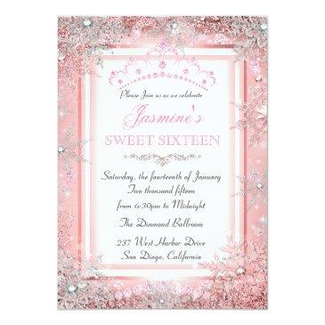 Small Pink Silver Winter Wonderland Sweet 16 Party Invitation Front View