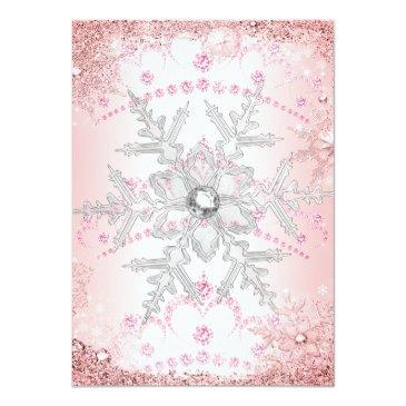 Small Pink Silver Winter Wonderland Sweet 16 Party Invitation Back View