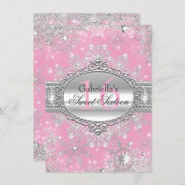 pink snowflake winter wonderland sweet 16 invite