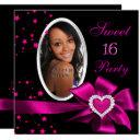pink sweet 16 birthday party heart photo silver invitation