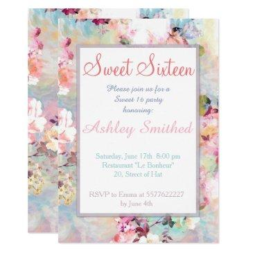 pink teal watercolor chic floral pattern sweet 16 invitations