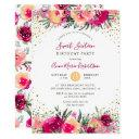 pink watercolor flowers sweet 16 birthday party invitations