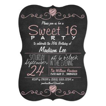 pink & white chalkboard rustic sweet 16 party