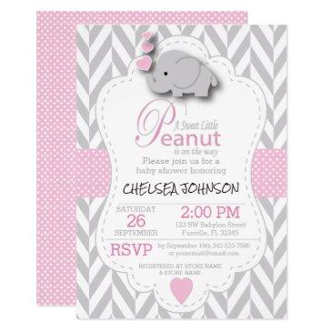 pink, white gray elephant 🐘 baby shower 2 invitations