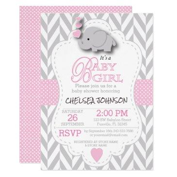 pink, white gray elephant baby shower