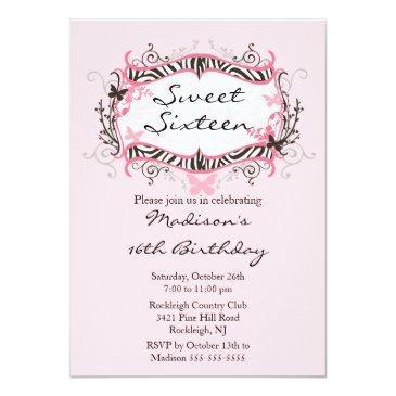 Small Pink Zebra Sweet Sixteen Birthday Invitation Front View