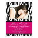 pink zebra sweet sixteen invitations