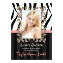 pink zebra sweet sixteen photo invitations