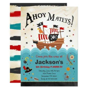 pirate birthday invitation ahoy pirate party bash