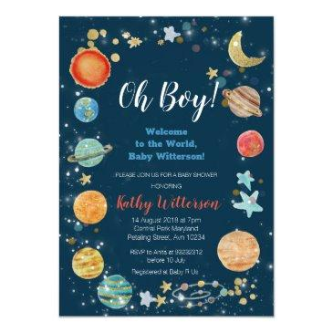 Small Planets Outer Space Baby Shower Invitation Front View